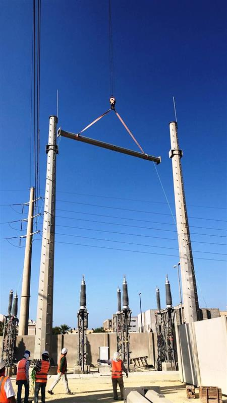 115kV Monopole Gantry installation at Jubail City Substation # 1