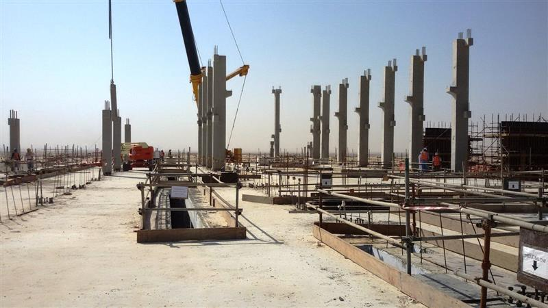 Pre-cast column installation at Mardumah 115/13.8kV Substation 20BD